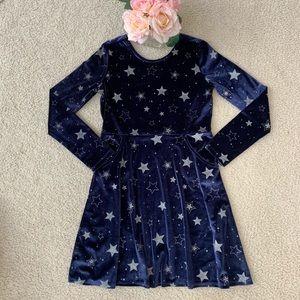 New Gymboree Velvet Like Blue Stars Dress XL